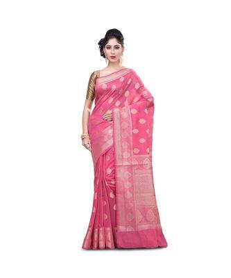 Pink Woman's Mercerize Cotton Silk Banarasi Saree