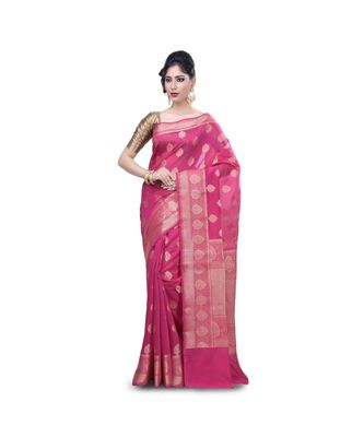 Rani pink Woman's Mercerize Cotton Silk Banarasi Saree