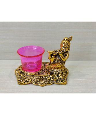 Golden Oxidized Antique Look Metallic Flute Krishna with Pink Tealight Holder