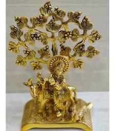 Golden Oxidized Antique Look Metallic Flute Krishna With Cow Standing Under Tree