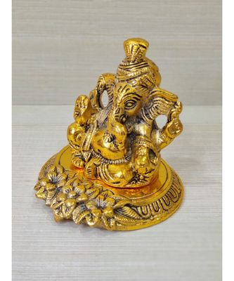 Golden Oxidized Antique Look Metallic Ganesha Idol Wearing Pagdi