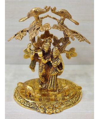 Golden Oxidized Antique Look Metallic Radha Krishna Idol Standing Under Tree