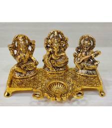 Golden Oxidized Antique Look Metallic Laxmi Ganesh Saraswati Idol With Diya