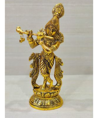 Golden Oxidized Antique Look Metallic Lord Krishna Idol Playing Flute