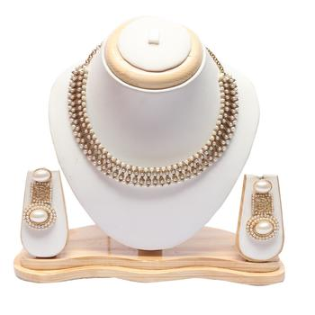 Beautiful intricately carved pearl earrings with choker necklace