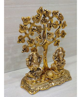 Handcrafted Golden Oxidized Antique Look Metallic Lord Ganesh Lakshmi idol With Diya Sitting Under A Tree