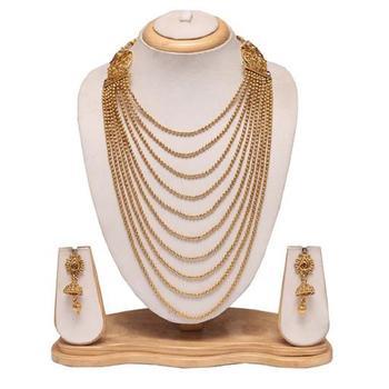 Golden multilayered beaded necklace set