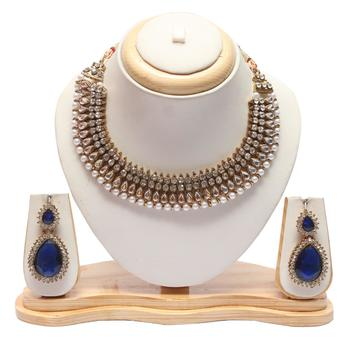 Kundan pearl necklace with Royal blue earrings