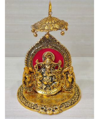Handcrafted Golden Oxidized Antique Look Metallic Ganesha Idol Sitting In A Shinghasan With Chattar On Top