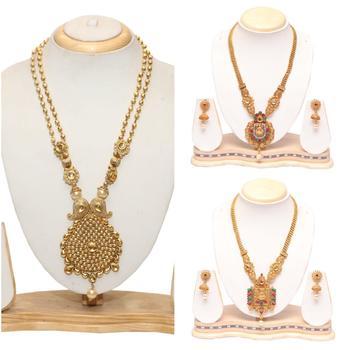 Golden long combo necklac set