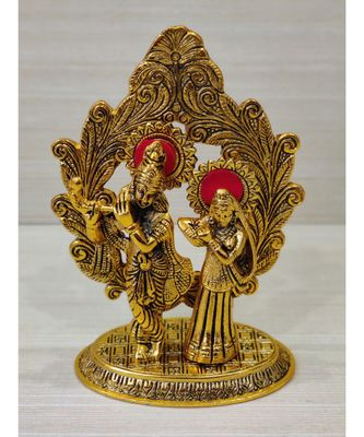 Handcrafted Golden Oxidized Antique Look Metallic Lord Krishna Darbar in Oval Style