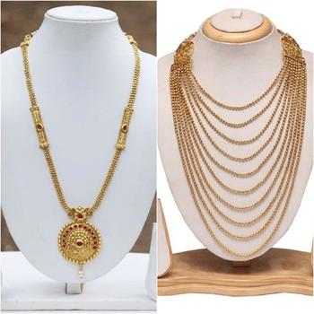 Copper long haram combo necklace set