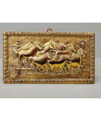 Handcrafted Golden Oxidized Antique Look Metallic Seven Running Horse Painting Like Wall Hanging Showpiece