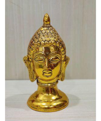 Handcrafted Golden Oxidized Antique Look Metallic Buddha Face Showpiece