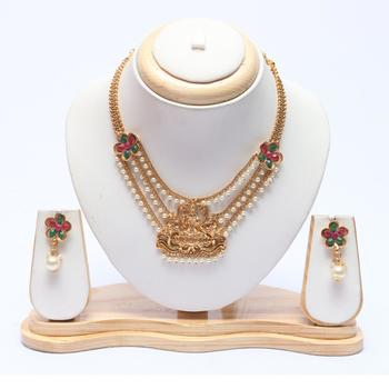 South Indian temple jewellery short necklace set