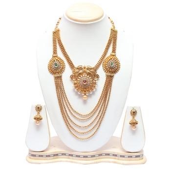 Multilayer peacock motif double necklace set