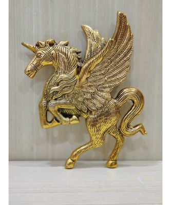 Handcrafted Golden Oxidized Antique Look Metallic Flying Horse Wall Hanging