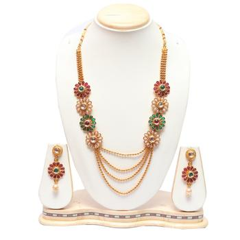 Floral meenakari work multicolour long necklace set