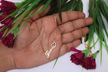 Rose gold love pendent with chain