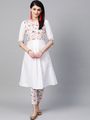 Women's white Khadi Print Flared Cotton Kurta With Pant