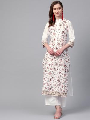 Women's white Khadi Print Straight Cotton Kurta With Palazzo