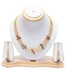 Multicolour multilayer pearl short necklace set