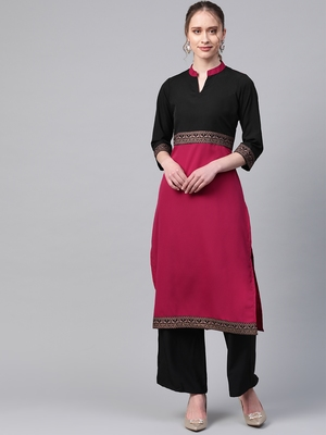 Women's pink Solid Straight Crepe Kurta With Palazzo