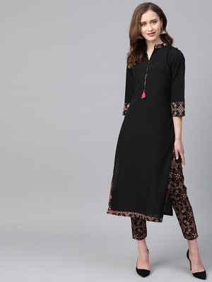 Women's black Solid Straight Crepe Kurta With Pant