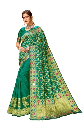 Green printed cotton saree with blouse