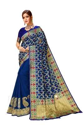 Navy blue printed cotton saree with blouse