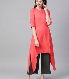Women's red Solid Straight Crepe Kurta