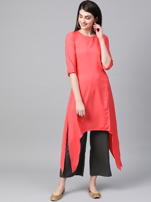 Women's red Solid Straight Crepe Kurta With Palazzo