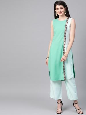 Women's green Solid Straight Crepe Kurta With Palazzo