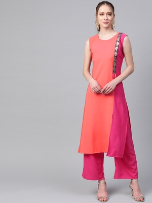 Women's orange Solid Straight Crepe Kurta With Palazzo