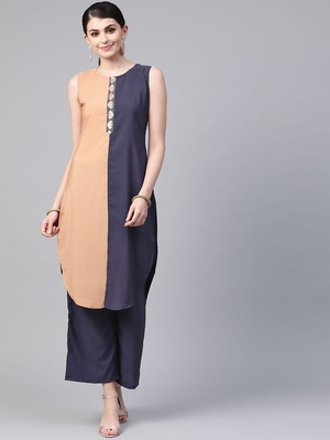 Women's blue Solid Straight Crepe Kurta With Palazzo