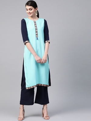 Women's blue Solid Straight Crepe Kurta