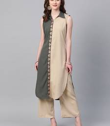 Women's grey Solid Straight Crepe Kurta