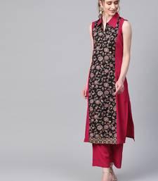 Women's pink Khadi Print Straight Crepe Kurta With Palazzo