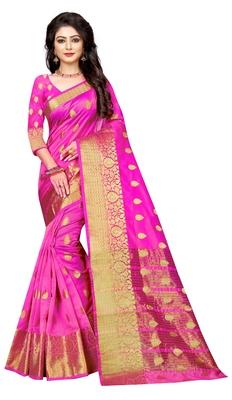 Dark pink woven cotton silk saree with blouse