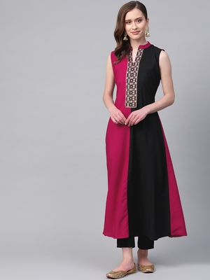 Women's pink Solid Straight Crepe Kurta With Pant