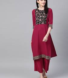 Women's pink Khadi Print Flared Crepe Kurta