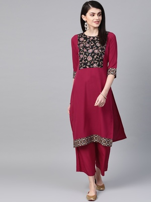 Women's pink Khadi Print Flared Crepe Kurta With Palazzo