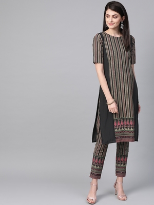 Women's black Khadi Print Straight Crepe Kurta With Pant