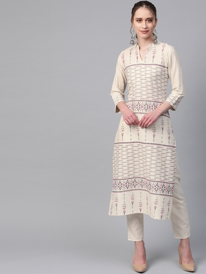 Women's cream Khadi Print Asymmetrical Flex Kurta With Pant