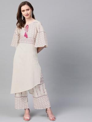 Women's cream Khadi Print Straight Flex Kurta With Palazzo