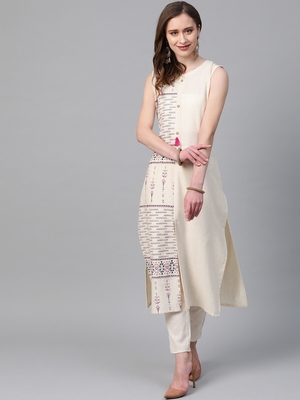 Women's cream Khadi Print Straight Flex Kurta With Pant