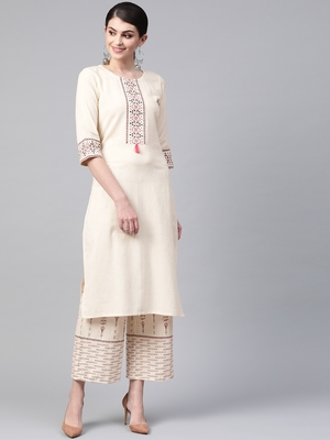 Women's cream Solid Straight Flex Kurta With Palazzo