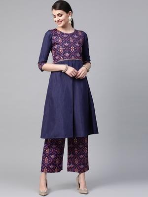 Women's blue Khadi Print Flared Polysilk Kurta With Palazzo