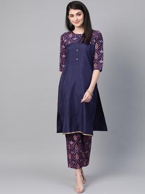 Women's blue Khadi Print Straight Polysilk Kurta