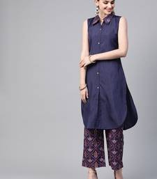 Women's blue Khadi Print Straight Polysilk Kurta